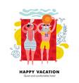 elderly beach vacation poster vector image