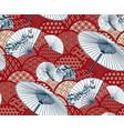 fan unbrella traditional kimono pattern flowery vector image
