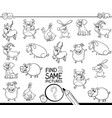 find two same farm animals coloring book vector image vector image