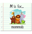 Flashcard letter M is for mammals vector image vector image