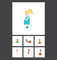 flat icon pregnant set of mother pregnant woman vector image