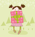 girl with present chrismas card vector image