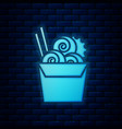 glowing neon asian noodles in paper box vector image vector image