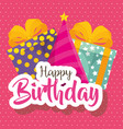 happy birthday card with gifts boxes vector image