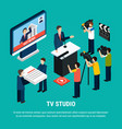 isometric studio television background vector image vector image