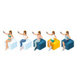 isometrics set of people 3d teenagers vector image vector image