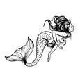 mermaid watercolor silhouette vector image