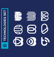 modern professional set logos b technology in blue vector image vector image