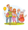 my big family together funny cartoon character vector image vector image