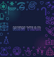 new year square modern frame in thin line vector image vector image
