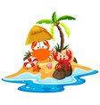 ocean scene with crabs on the beach vector image vector image