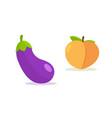 peach cartoon emoji icon eggplant emoticon vector image vector image