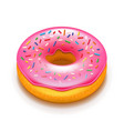 pink donut isolated on white vector image vector image