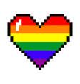 rainbow pixel heart vector image vector image