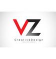 red and black vz v z letter logo design creative vector image vector image