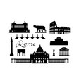 rome travel landmark set italian famous places vector image vector image