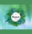 sale round summer sale tropical leaves freme vector image vector image