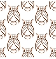 Seamless background pattern with brown owls vector image vector image