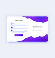 sign up page purple gradient registration form vector image vector image