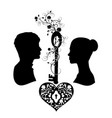 silhouette wedding with key and heart vector image vector image