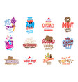 sketch candies and sweets logos set vector image vector image