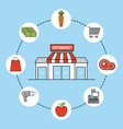 supermarket facade exterior commerce grocery icons vector image vector image