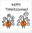 two hand drawn symbolic turkeys vector image