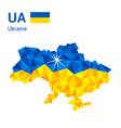 ukraine flag map in polygonal geometric style vector image