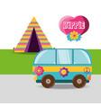 van with flower hippie concept vector image vector image