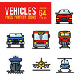 vehicle and transport outline color icon pixel vector image vector image