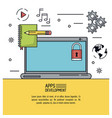 white background poster of apps development with vector image vector image