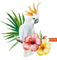 white parrot hibiscus tropical palm trees vector image vector image