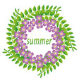 wreath of green twigs and flowers vector image vector image