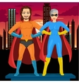 young man and woman in superhero costume vector image vector image