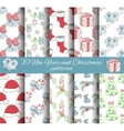 set of 10 seamless Christmas and New year patterns vector image