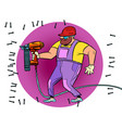 a worker drills wall with drill or puncher vector image