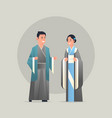 asian couple wearing traditional clothes smiling vector image vector image