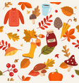 autumn pattern with leaves and autumn elements vector image vector image
