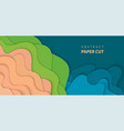 background with blue green and beige colors paper vector image