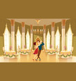 ballroom hall with dancers in palace vector image vector image