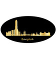 bangkok city skyline gold with text vector image