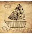 Boat floating on the sea background on grunge