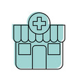 building exterior pharmacy cross medical vector image vector image