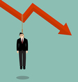 Businessman hang himself on a graph down vector image vector image