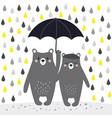 cartoon bears with umbrella vector image