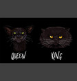 couple apparel two black cats faces vector image