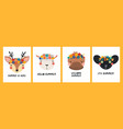 cute funny animal faces in flower crowns cards set