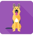 dog German shepherd sitting icon flat design vector image vector image