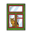 domestic cat looking out window sketch engraving vector image