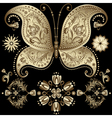 gold vintage butterfly vector image vector image